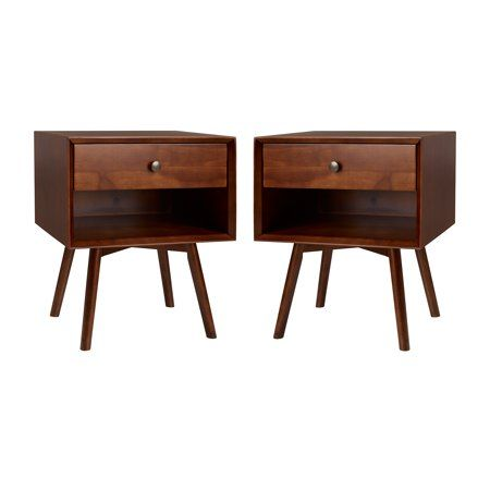 Best Manor Park Set Of 2 Mid Century 1 Drawer Solid Wood 400 x 300