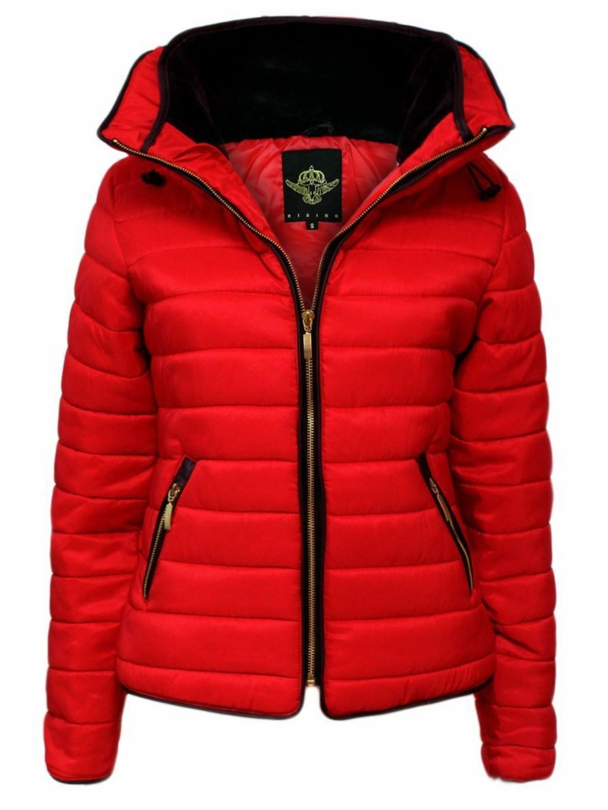 New Women Ladies Puffer Jacket Quilted Padded Bubble Fur Hood Winter Warm Thick
