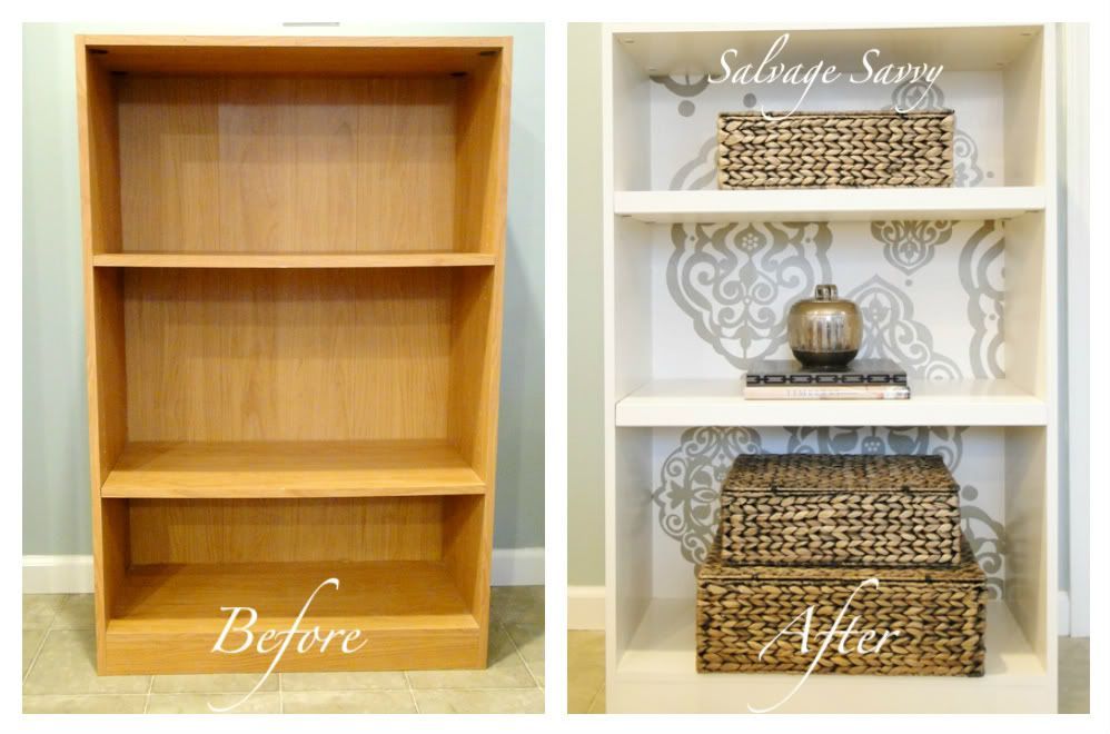 Salvage Savvy: DIY Organizational Ideas  This bookshelf was painted and then decals were added on top of the paint. She said it keeps the tape holding your stencils on from pulling paint off when they are taken off. Decals can be purchased at JoAnns.
