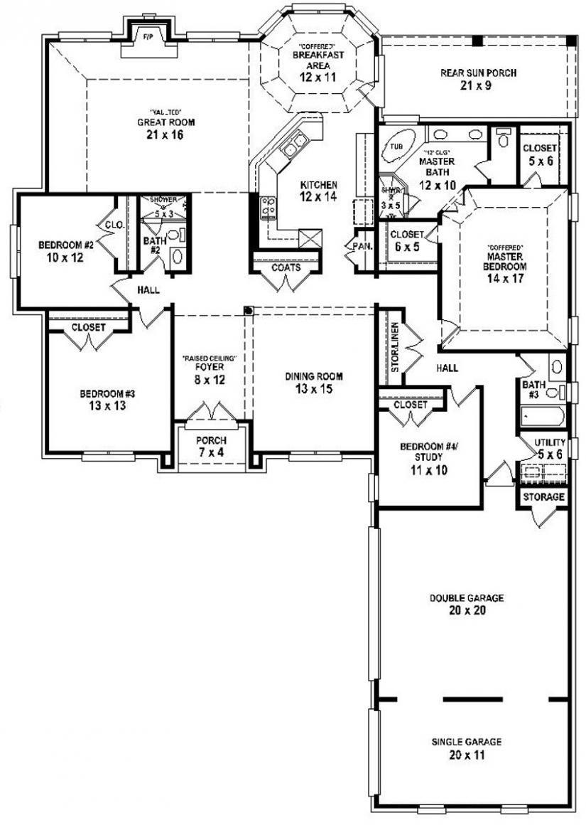 654254 4 Bedroom 3 Bath House Plan Basement House Plans House Floor Plans Ranch House Plans
