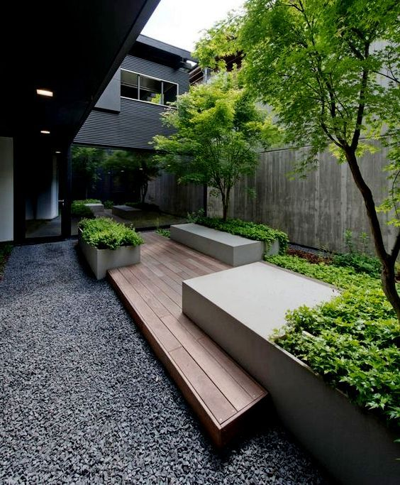 Timber deck and gravel courtyard \u2026 Pinteres\u2026 - Prix D Une Terrasse En Beton
