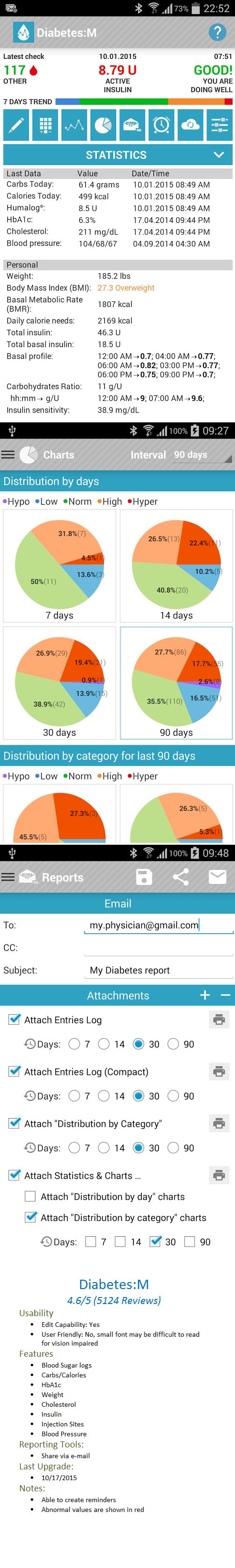 Manage Diabetes Type 1, Type 2, Gesatational with this Mobile Health App called Diabetes:M  Great app for Nursing, Medicine, Diabetes Management