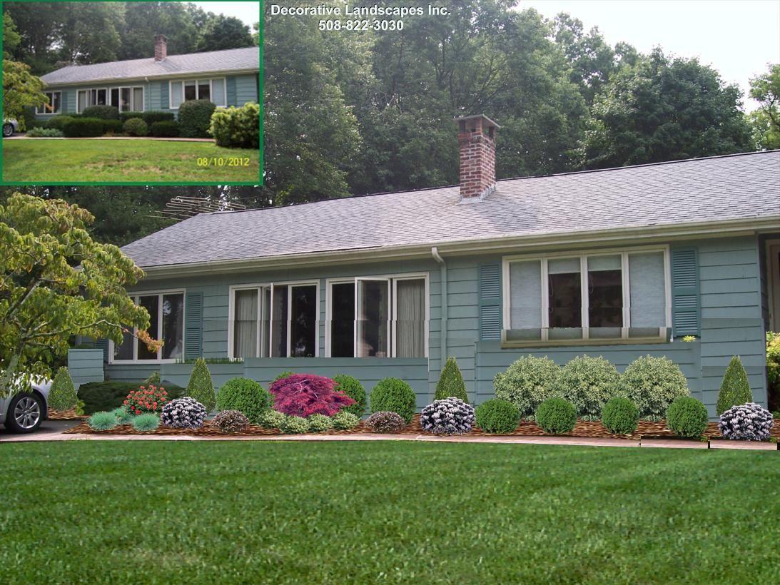 Landscape Design front of home, MA   Small garden ...