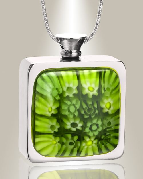 evergreen bouquet silver finish cremains pendant