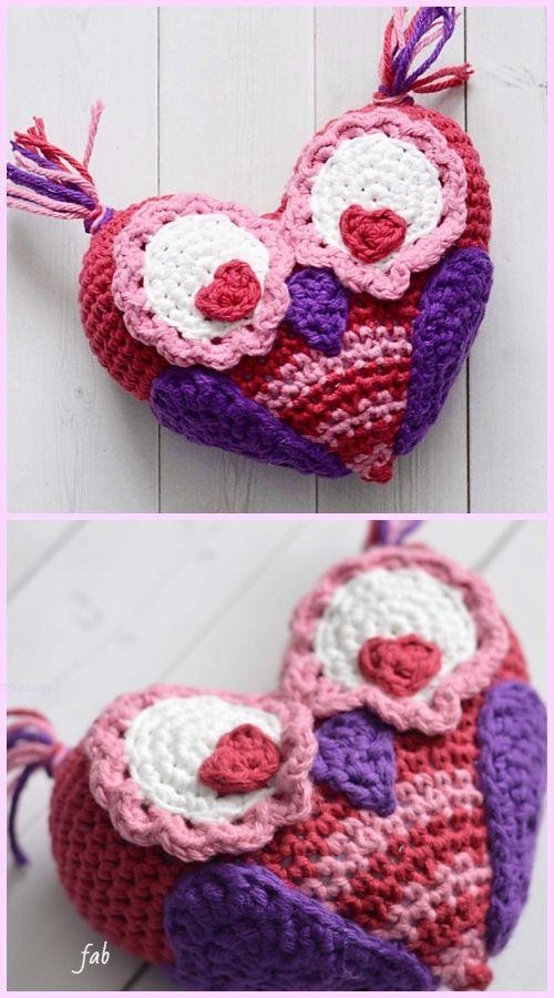 Crochet Valentine Heart Owl Free Crochet Pattern Paid Puntadas