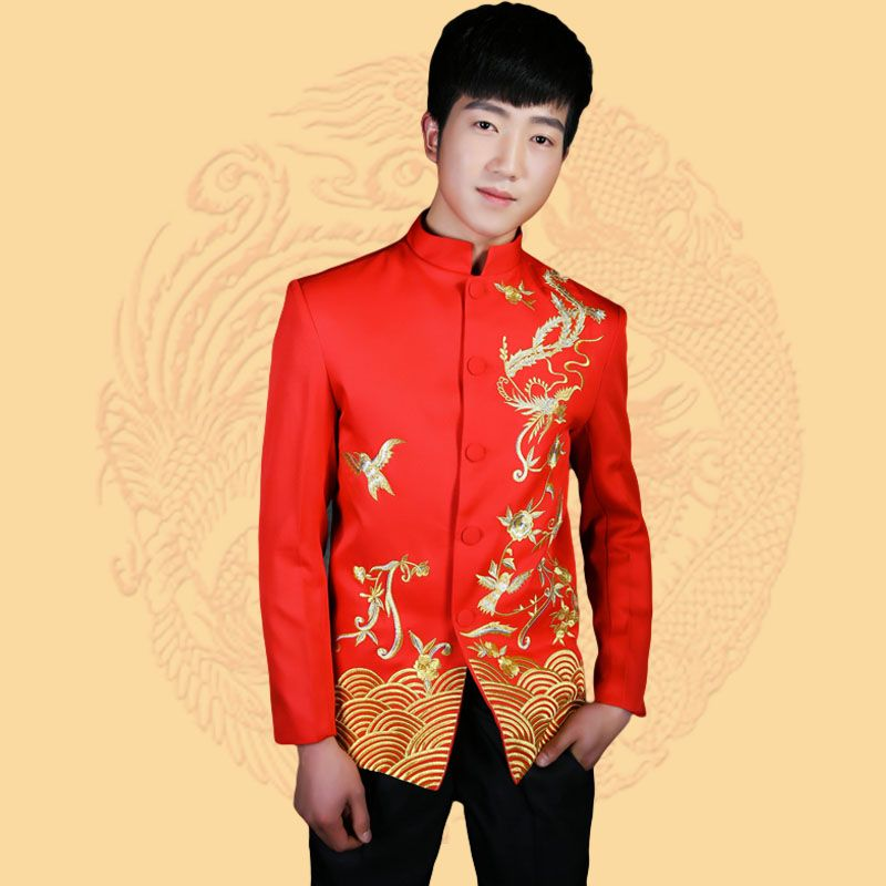 pas cher rouge chinois costume tunique hommes col montant traditionnelle costumes apec chef