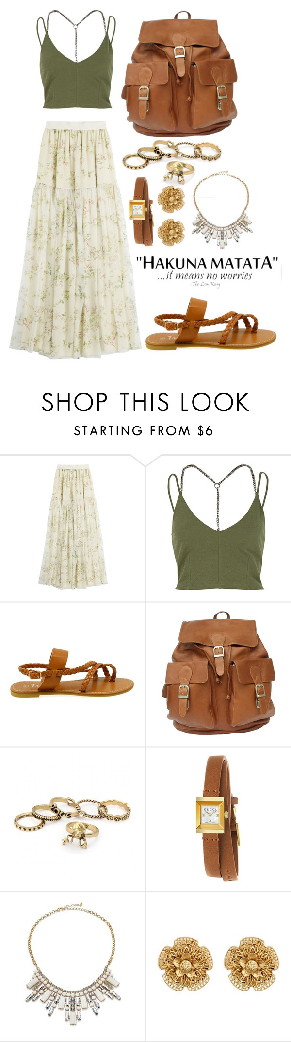 """Hakuna Matata"" by tychehecateartemishera ❤ liked on Polyvore featuring Giambattista Valli, River Island, Gucci, ABS by Allen Schwartz and Miriam Haskell"