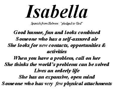 Isabella my daughter, I think this is the most beautiful