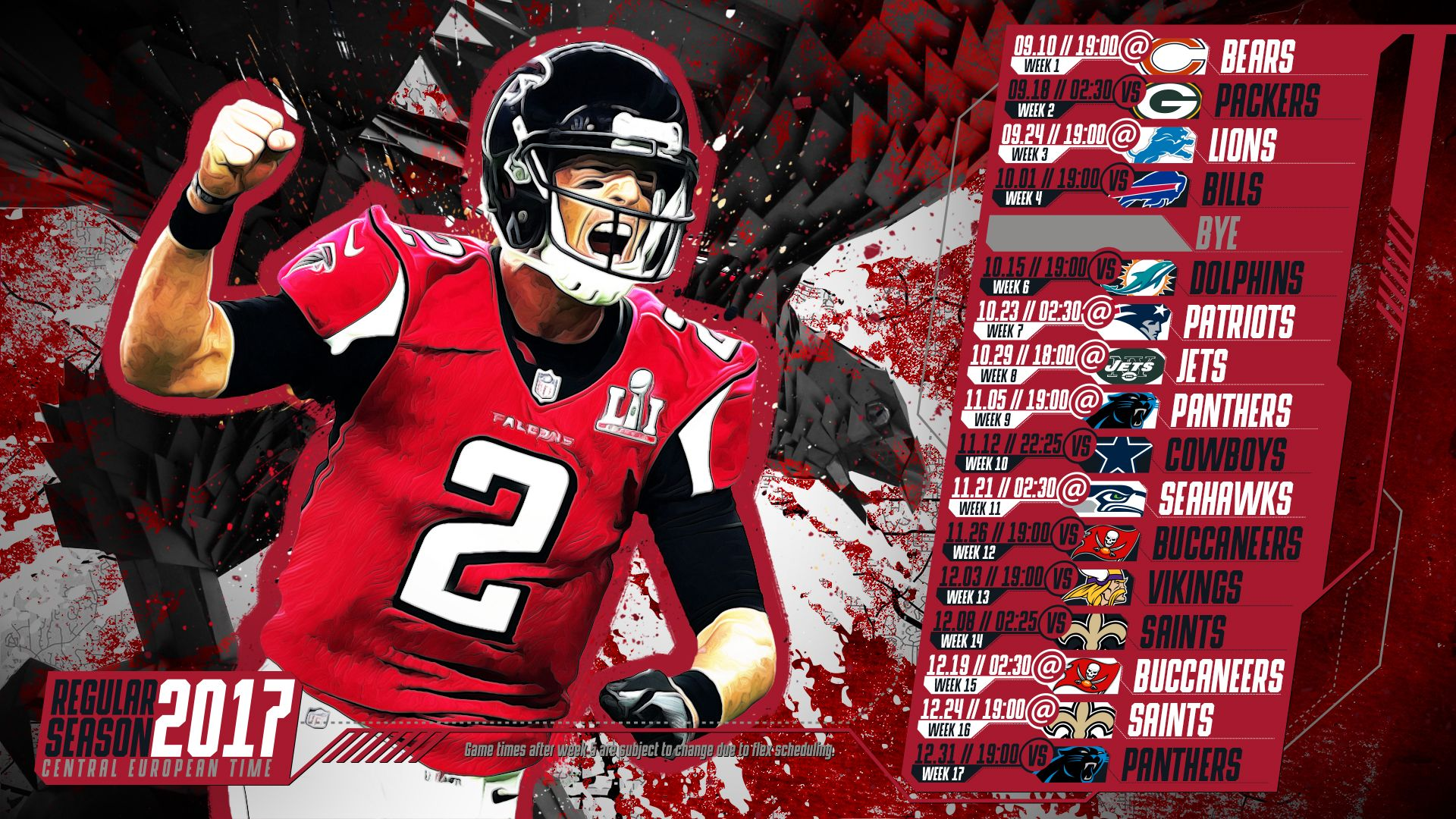 Schedule Wallpaper For The Atlanta Falcons Regular Season 2017 Central European Time Made By Tgersdiy
