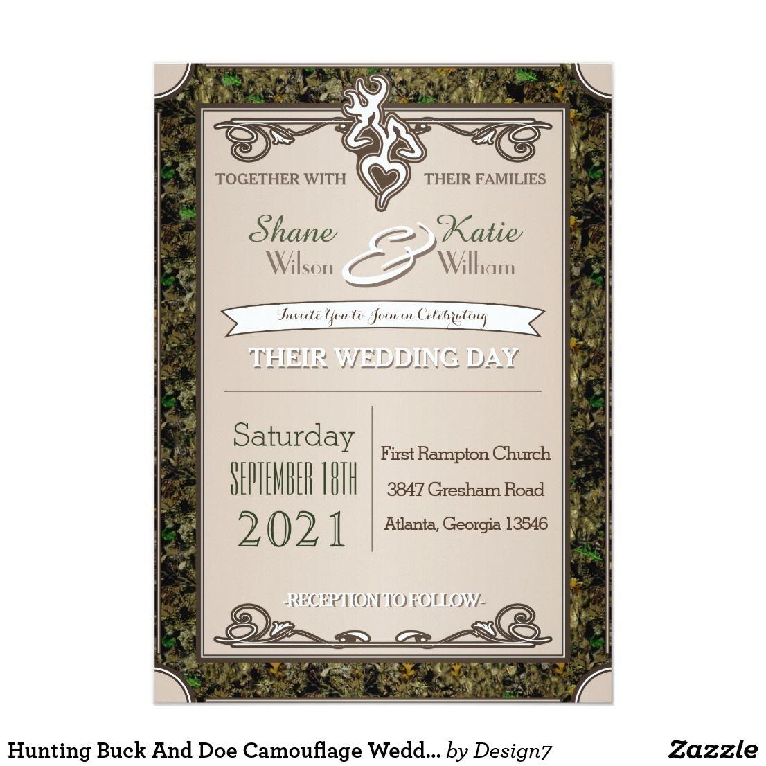 Hunting Buck And Doe Camouflage Wedding Invitation Wedding And Wedding
