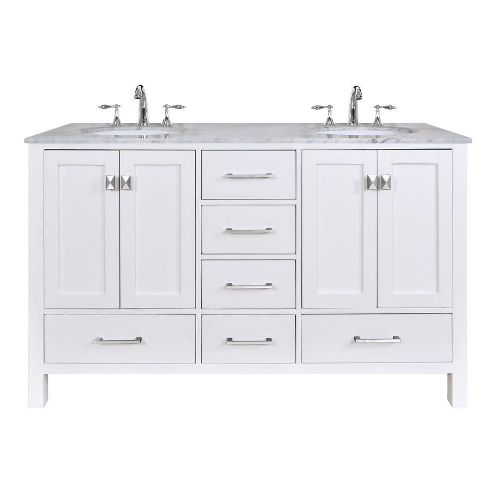 Stufurhome Malibu 60 In. Vanity In Pure White With Marble Vanity