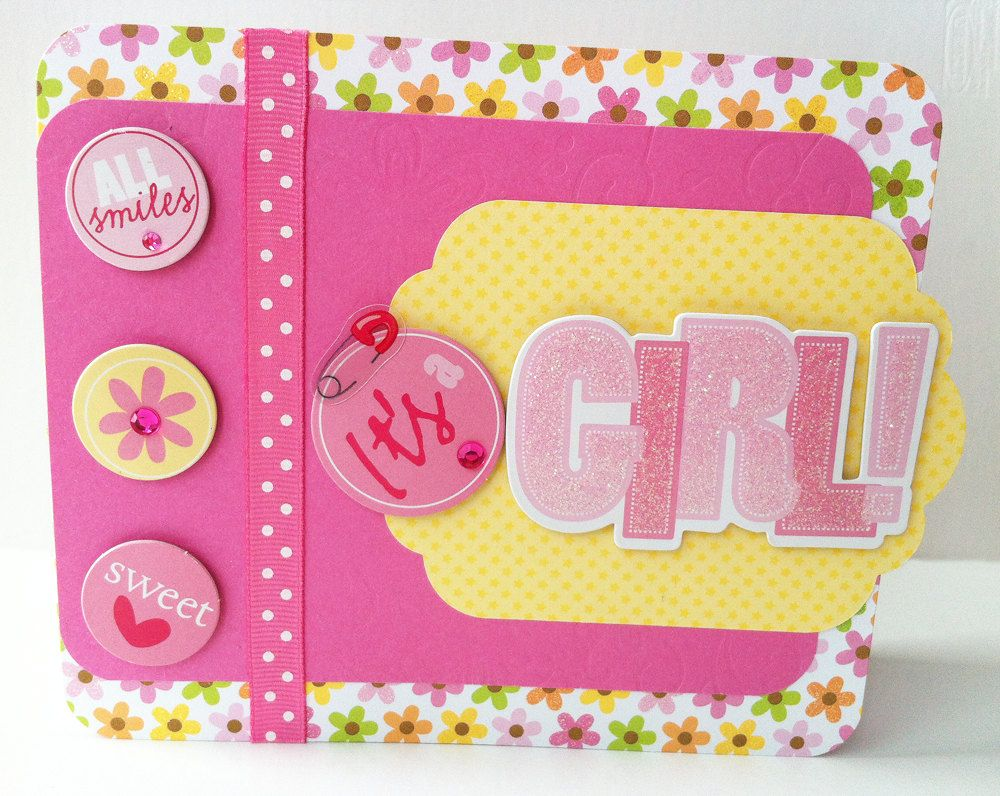 Pink Baby Girl Card Handmade New Baby Card Baby Shower Card