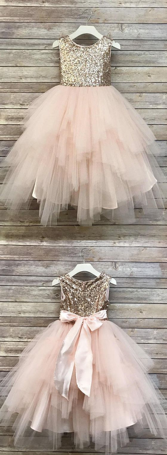 e1d6587aed4 Cute A Line Round Neck Sequins Pink Tulle Flower Girl Dresses with Bow  Under 100