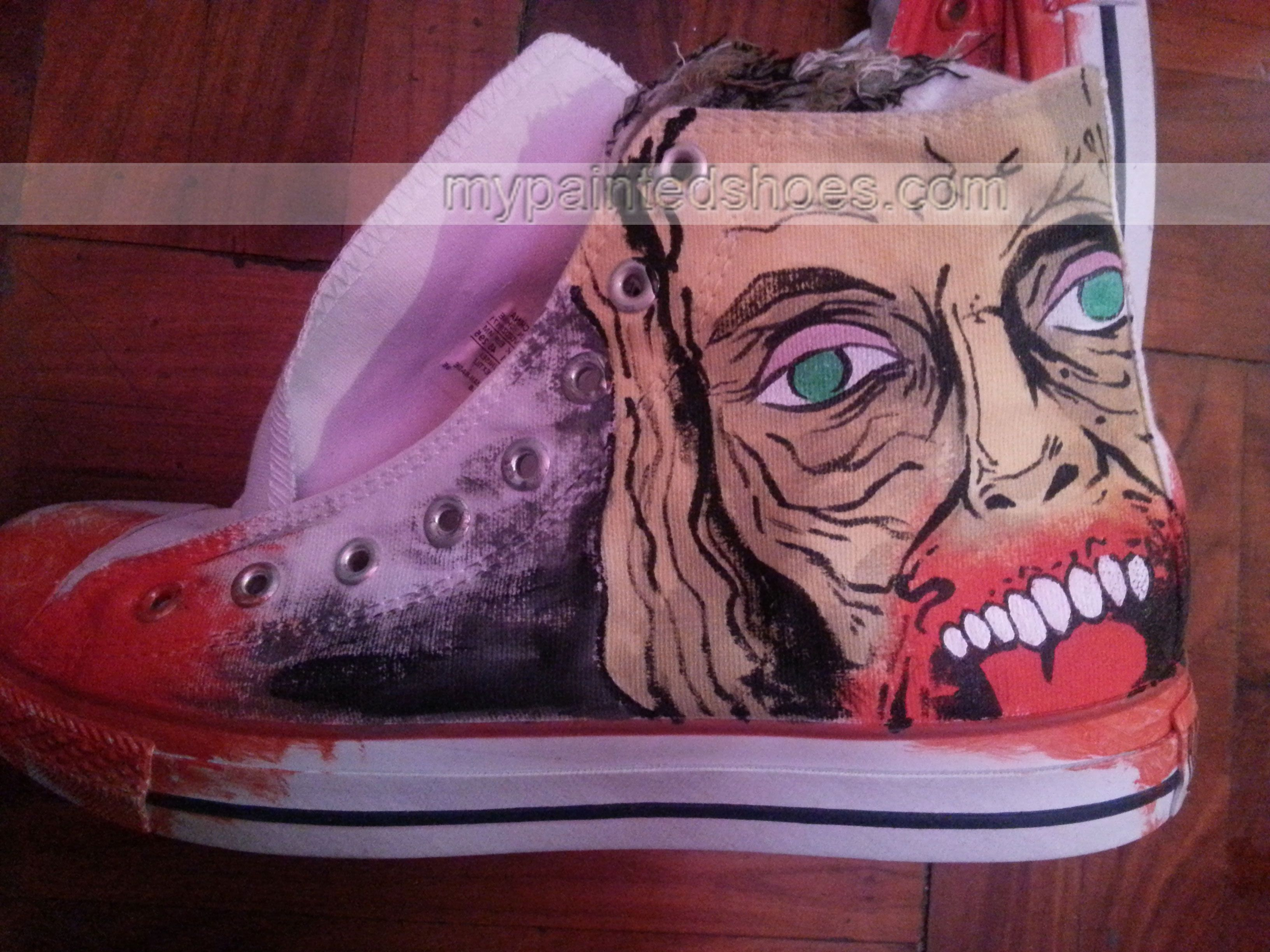 The Walking Dead #Shoes The Walking Dead High top Painted