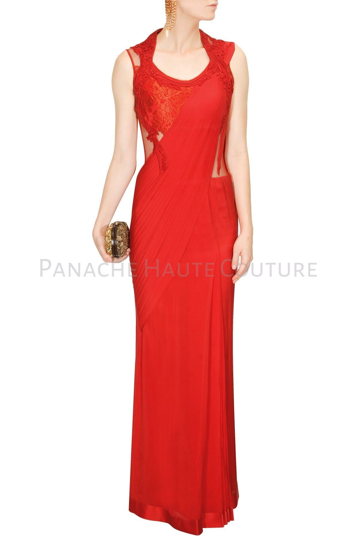 The Red Colour Designer Saree Gown Is Available On A