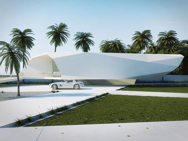"""Its stylized contours shape a fascinating pure white structure perfect for spending a blissful holiday in. This simple description seems to picture it as a single person retreat: """"a summer house concept of a wave form abstraction covers an individual lifestyle""""."""