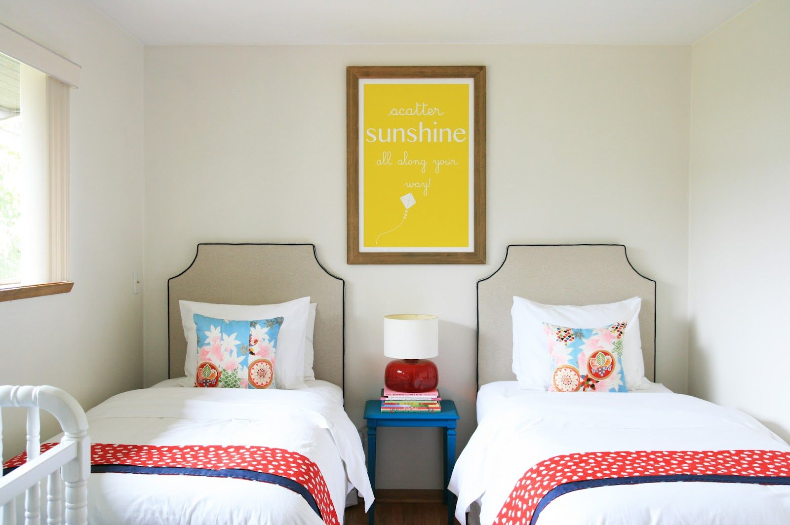 Love The Linen Headboards With Black Piping! Photo From: Stephmodo:  Beautiful Shared Bedroom For 2 Girls + A Boy. Part 53