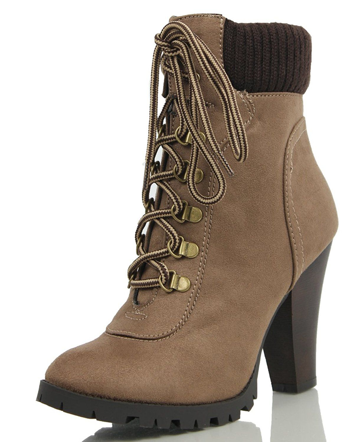 Womens Soda Women's Rouge Faux Suede Lace Up Combat Chic Work Boot High Heel Ankle Bootie Sale Size 39