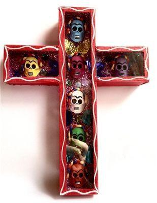 Dos Mujeres Mexican Folk Art - Day of the Dead Frida Kahlo Skull Cross (http://shop.mexicanfolkart.com/day-of-the-dead-frida-kahlo-skull-cross-red/)