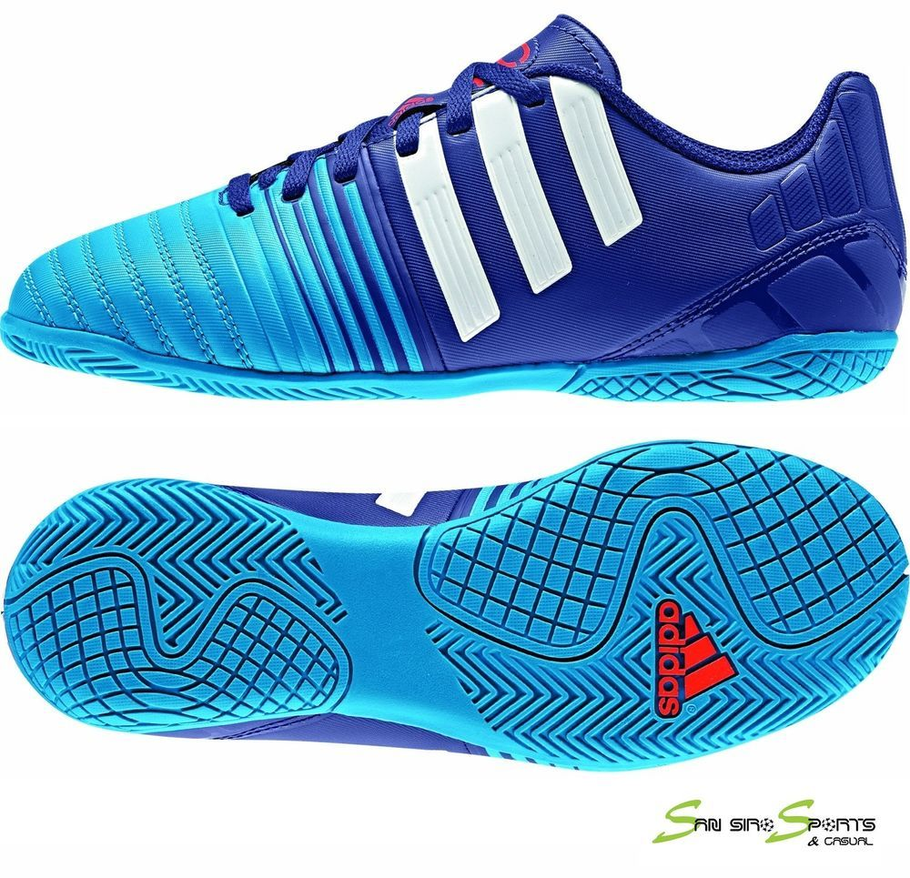 Adidas Boys INdoor Nitrocharge 4.0 Shoes Amazon Purple/White/Solar Blue New  2015