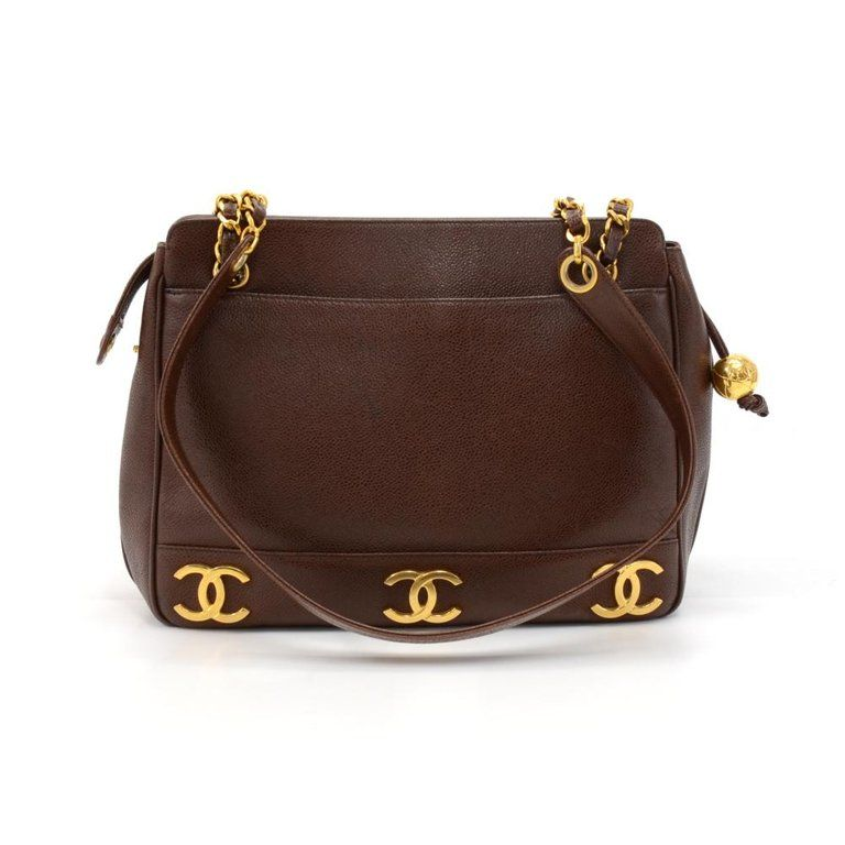 64ba4efcfd118b Vintage Chanel Triple CC logo Shoulder Bag in Brown Caviar Leather. The  outside has 3