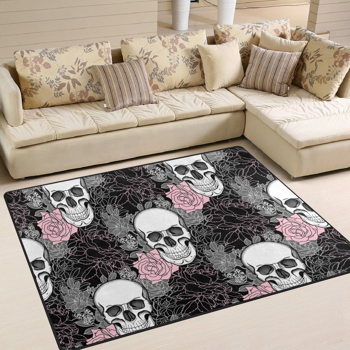 Halloween Style Suggestions Stylish Sugar Skull Day Of The Dead Halloween Decorations Flower Butterfly Area Rug Goth Home Decor Home Decor Gothic Home Decor Skull living room decor