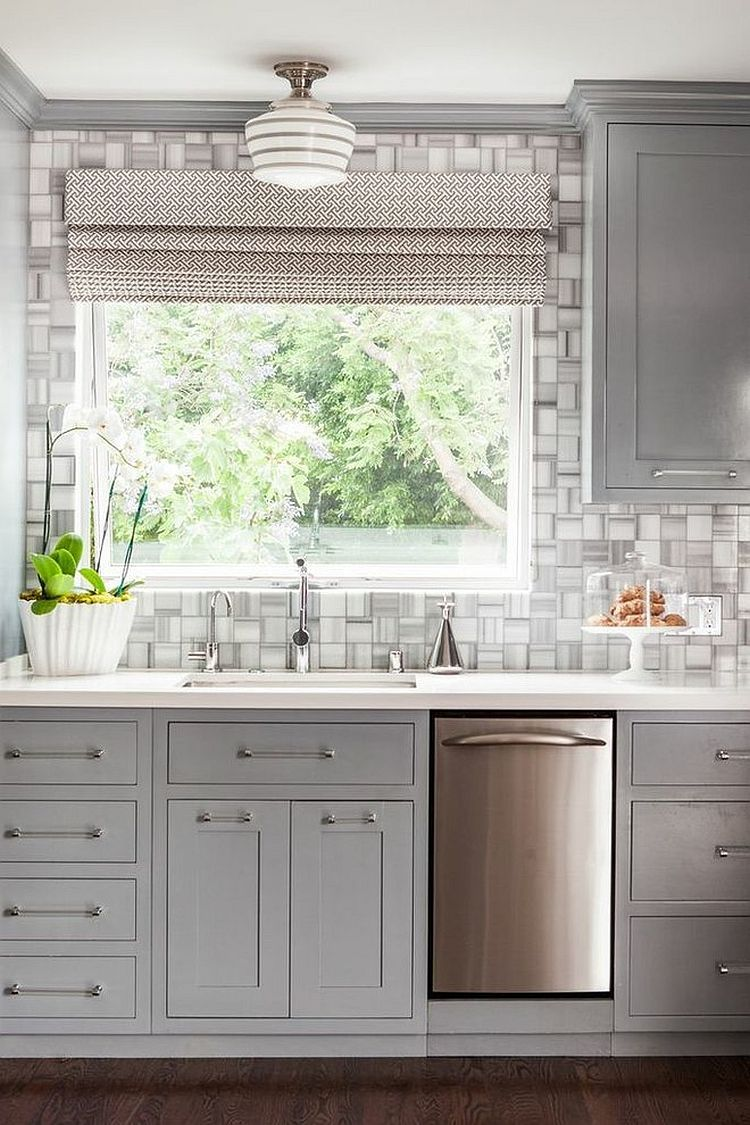 Modern classic kitchen in cool gray features a fabulous tiled ...