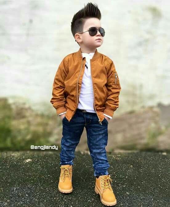 Boys wear - brown jacket, a blue jean