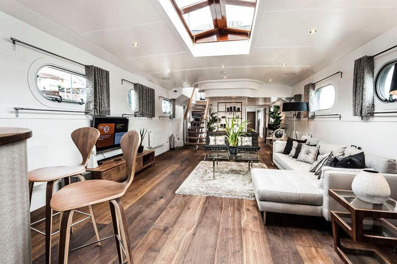 Luxury Residential Barge Houseboats In 2019 Pinterest Barge Interior Canal Boat Interior