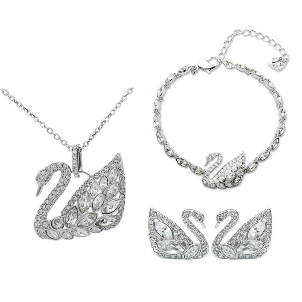 Babao jewelry swan dazzling clear cz crystal k platinum plated
