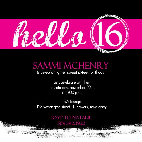 sweet 16 invitation cards designs Google Search – Sweet 16 Invitation Card