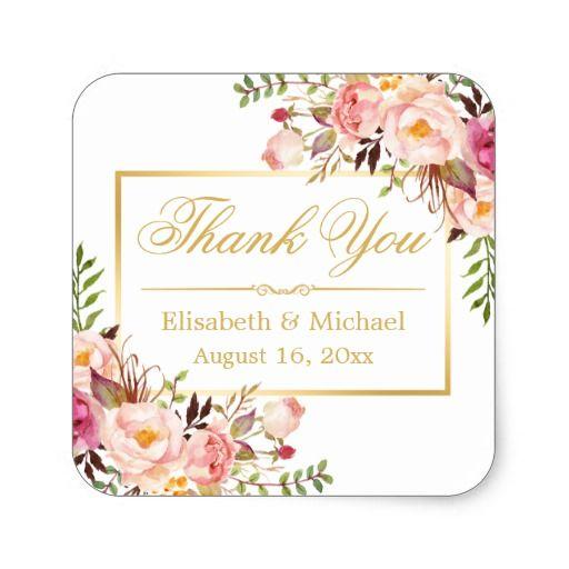 Elegant Chic Floral Gold Frame Thank You Square Sticker   Elegant ...