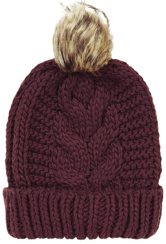 Red Flange Fur Ball Knit Hat 11.33  a47792da02d