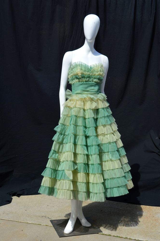 Vintage 50s Prom Dress Green