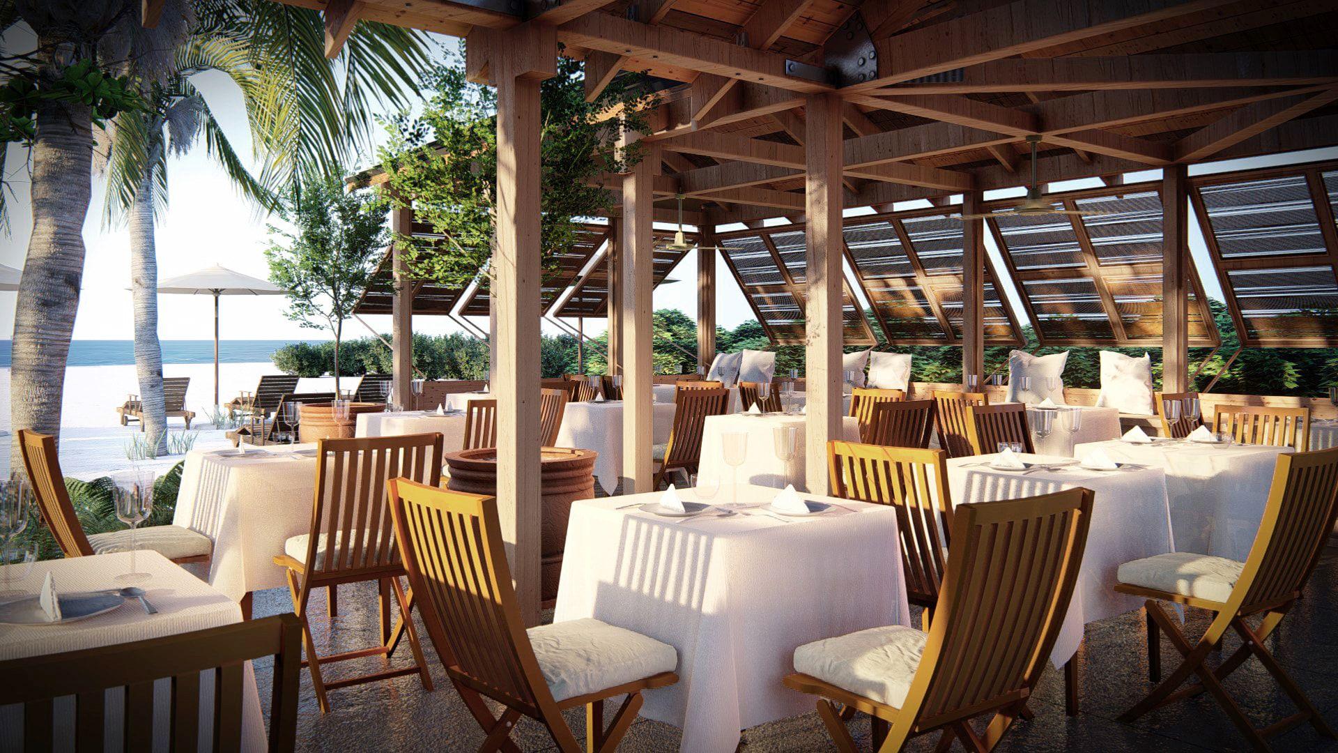 Restaurant outdoor veranda, rendered in Lumion 8 by