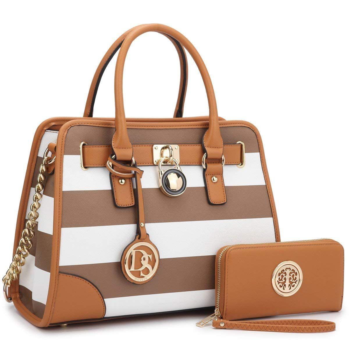 Amazon.com  Medium Satchel 2 Pieces Purse Set Designer Handbag Top Handle  Shoulder Bag bad7488140a6f