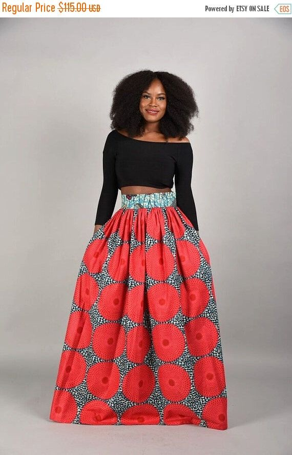 356e08facf Bold and fearless. SALE Circle bun Maxi Skirt African print skirt by RAHYMA  ...