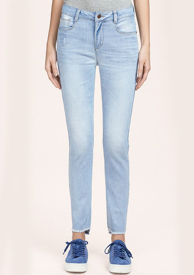 3986fbe76 Calça Jeans Skinny Feminina Hering Cintura Alta Com Degrau Na Barra ...