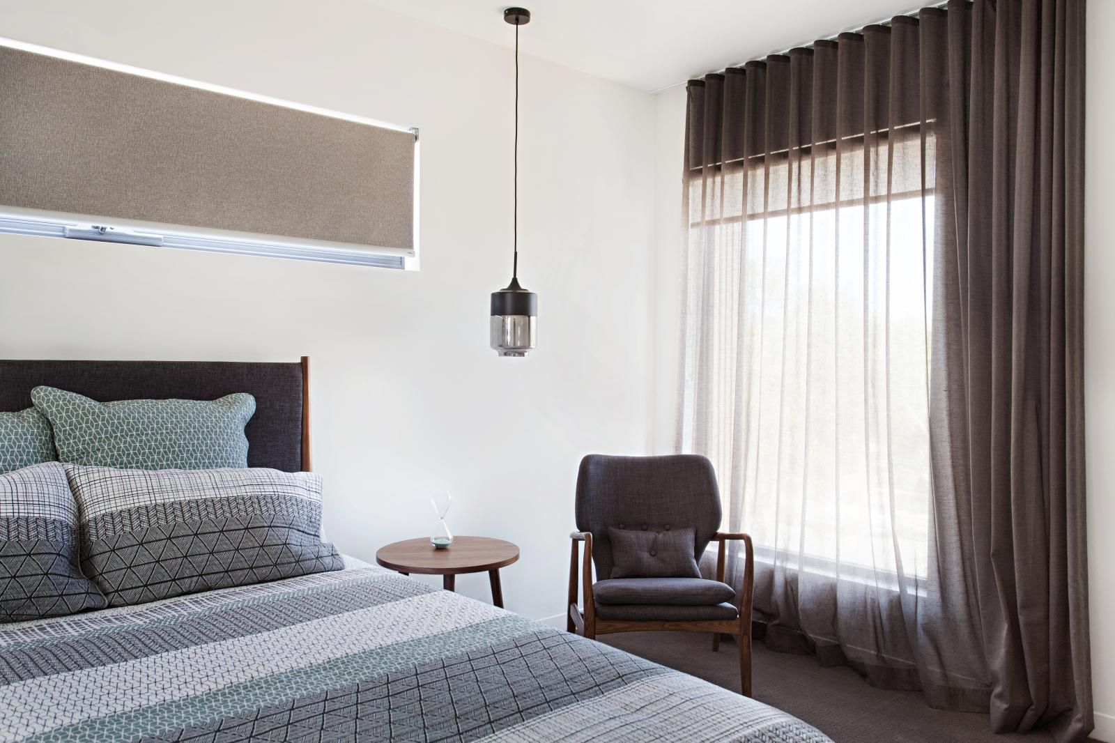 Blinds And Curtains For Bedroom - S fold curtain in sheer cavalier fabric and teak colour coupled with a
