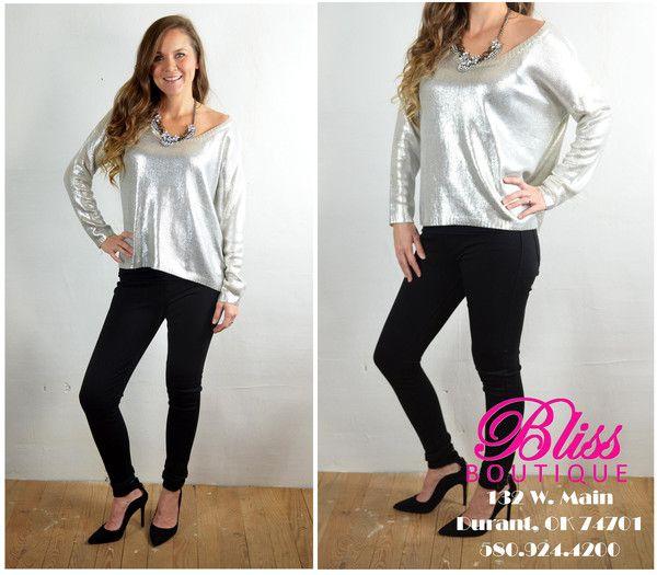 Metallic Silver Sweater $39.95