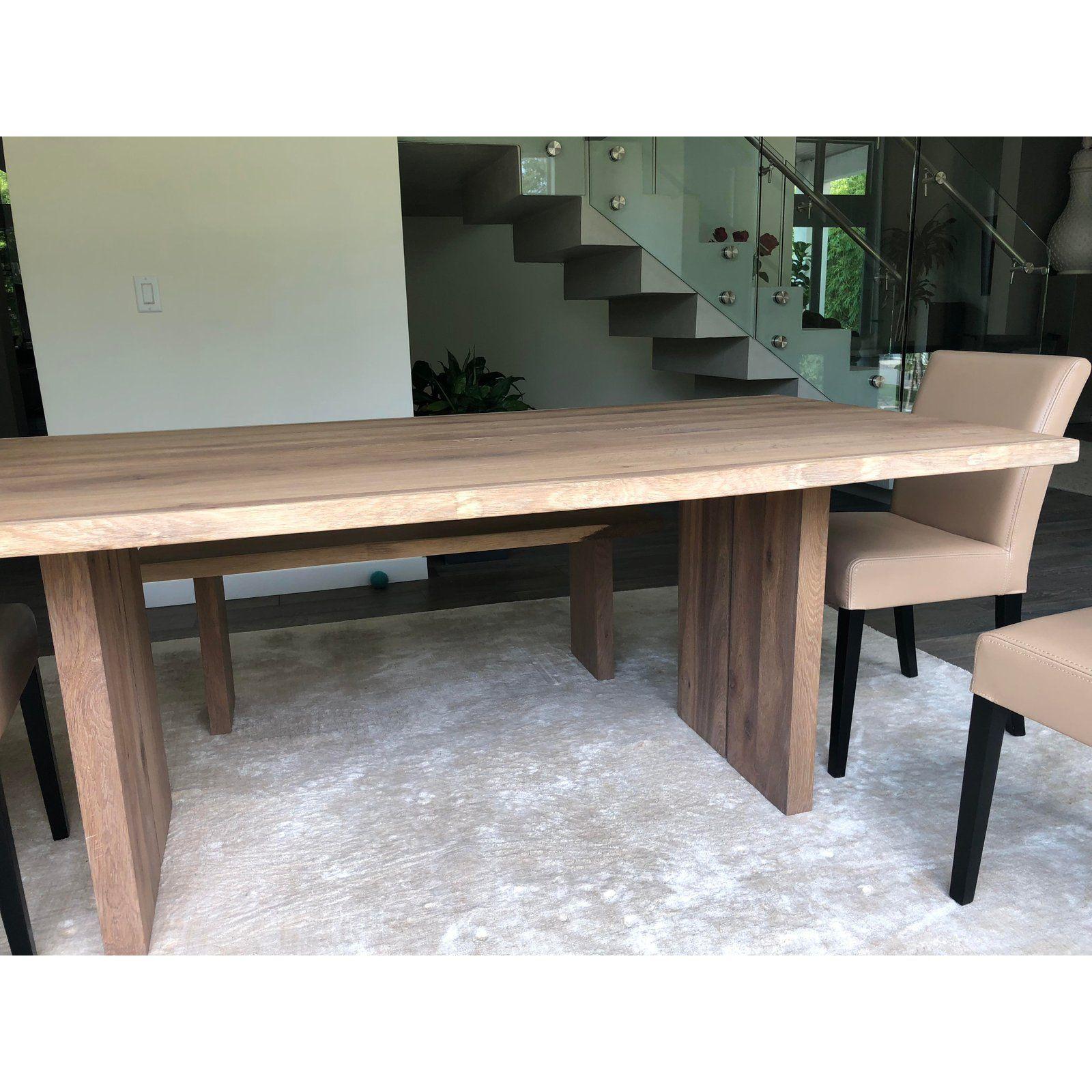 Crate Barrel European White Oak Dining Table With Matching Bench Set Oak Dining Sets White Oak Dining Table Oak Dining Table #oak #living #room #tables