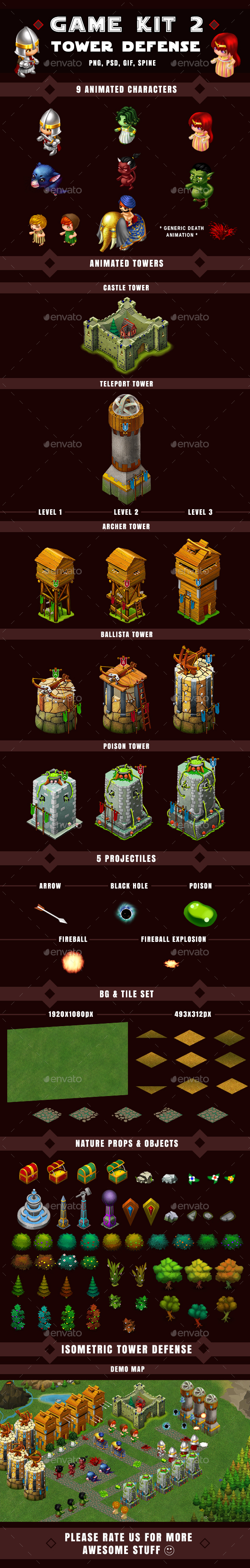 Isometric Tower Defense Game Kit 2 of 3 w character sprites & more — Photoshop PSD #adventure #isometric defense • Available here → https://graphicriver.net/item/isometric-tower-defense-game-kit-2-of-3-w-character-sprites-more/16883875?ref=pxcr