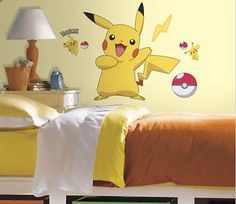 "PIKACHU wall stickers Pokemon MURAL 12 decals room decor Pokeball 28""x29"""