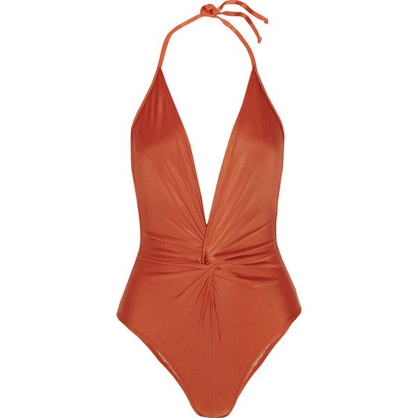 ac7f726a4f Adriana Degreas Knotted halterneck swimsuit (42840 RSD) ❤ liked on Polyvore  featuring swimwear, one-piece swimsuits, swimsuit, halter bathing suit, swim  ...