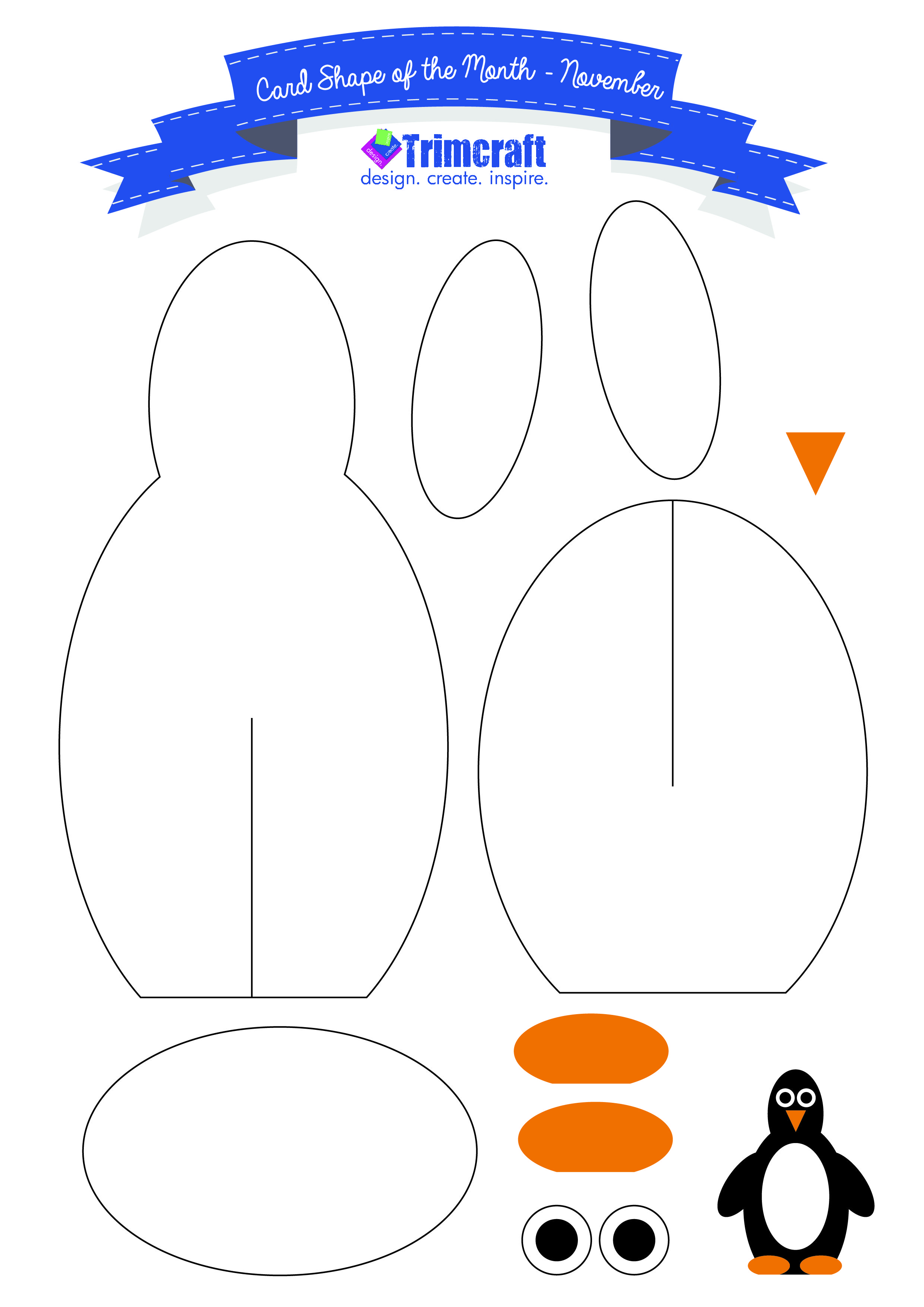 Card Shape Of The Month  D Penguin Cards With Free Template