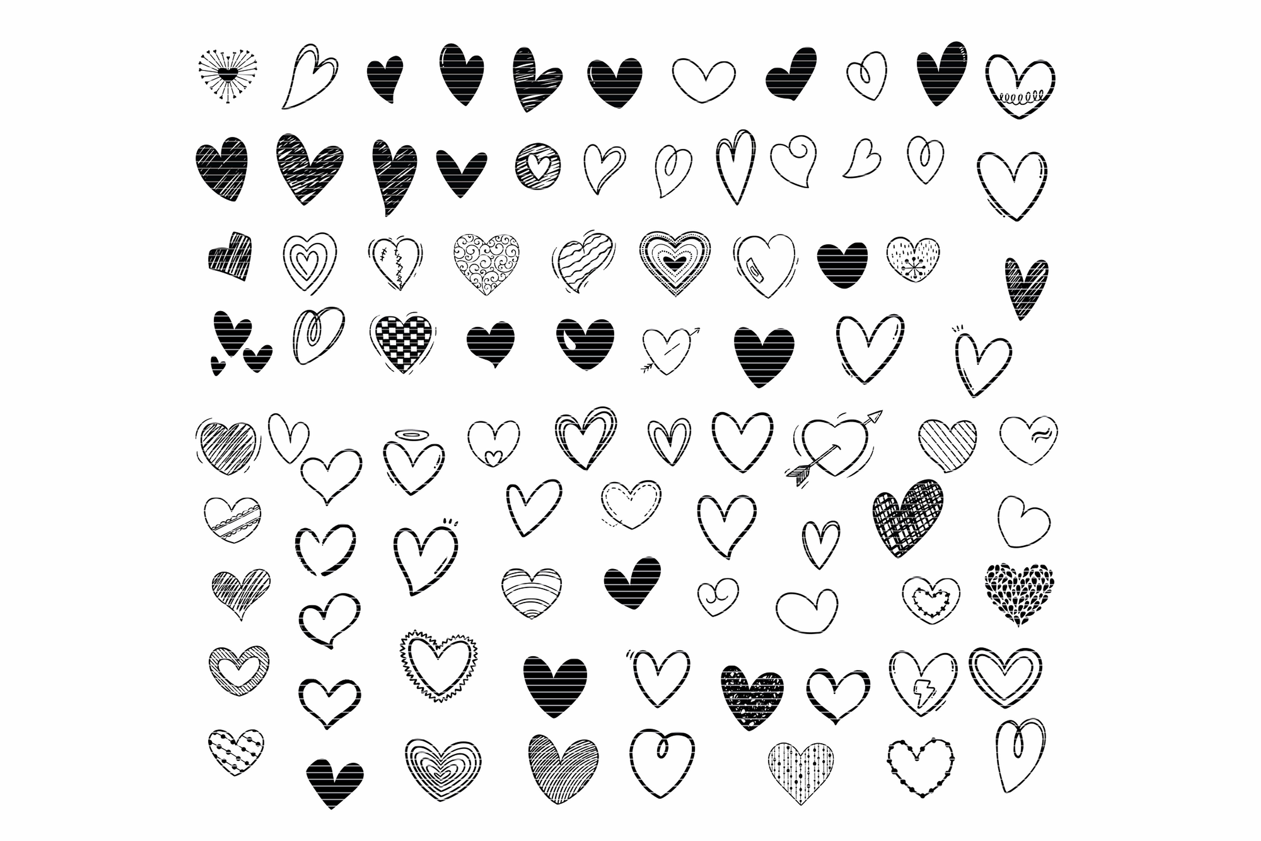 Hand drawn doodle heart svg bundle clip art in 2020 how