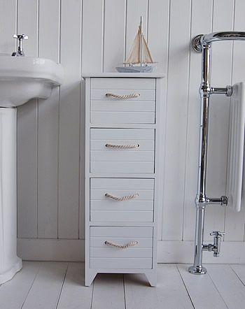 Slim Freestanding Bathroom Cabinet With 4 Drawers And Rope Handles Carpentry Diy Pinterest