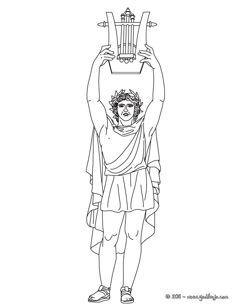 DIOS APOLO para colorear, dios griego de la música y de las artes ...