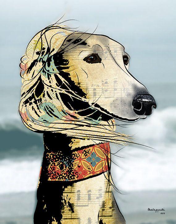 Isabella 11x14 Saluki Pop Art Print Dog Art by PopDogDesigns, $20.00