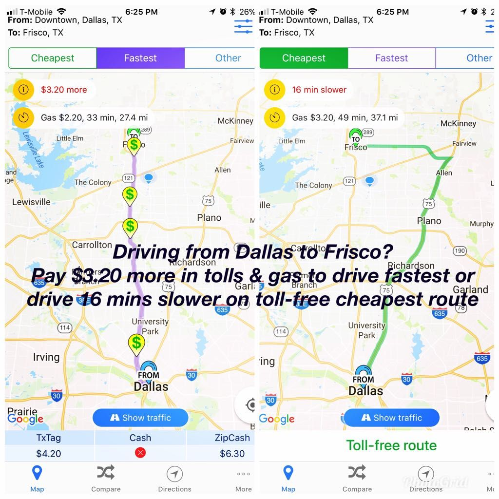 Driving In Car From Dallas To Frisco Pay 3 20 More In Tolls Gas To Drive The Fastest Or Drive 16 Mins Slower On Toll Free Chea Trip Little Elm Drive In Car